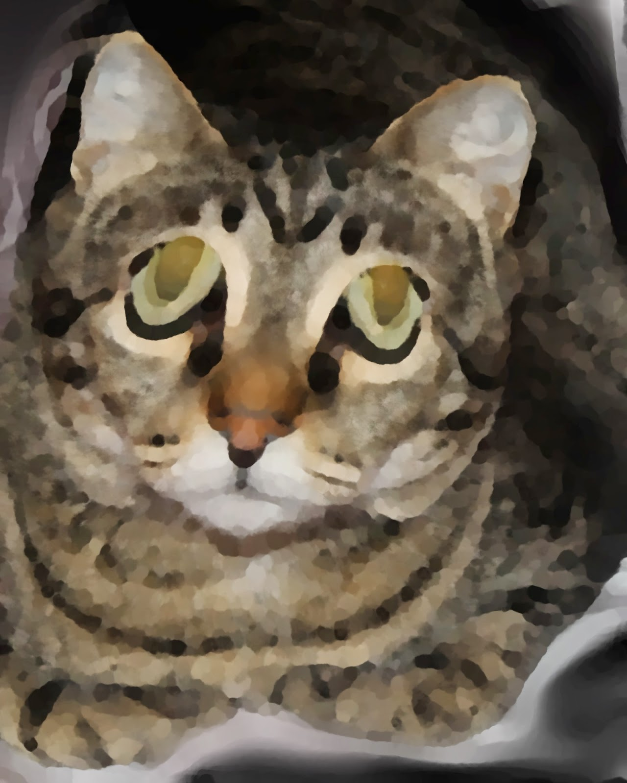 cat art watercolor painting of kitty