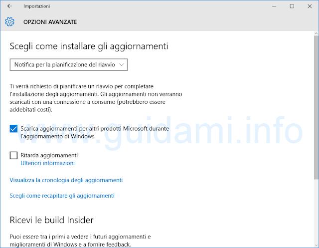 Impostazioni Windows Update Windows 10