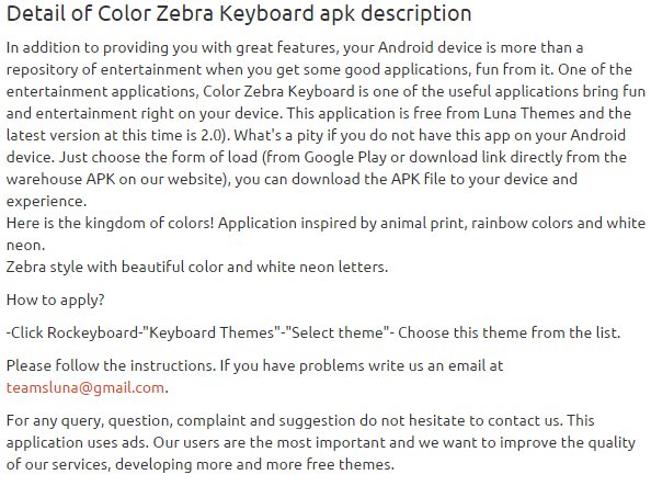 Color Zebra Keyboard 2.0 apk