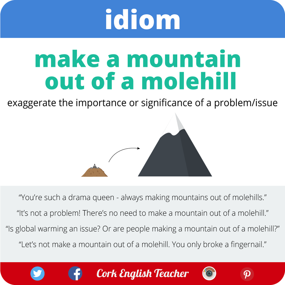 make a mountain out of a molehill The common phrase making a mountain out of a molehill, meaning to exaggerate a minor problem, is an ironical reference to these small features evidence of burrows edit.