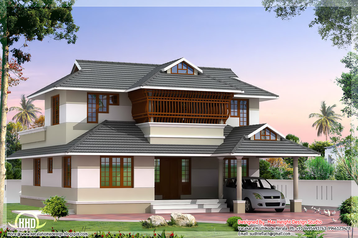 Kerala style villa architecture 2200 house for Kerala style villa plans
