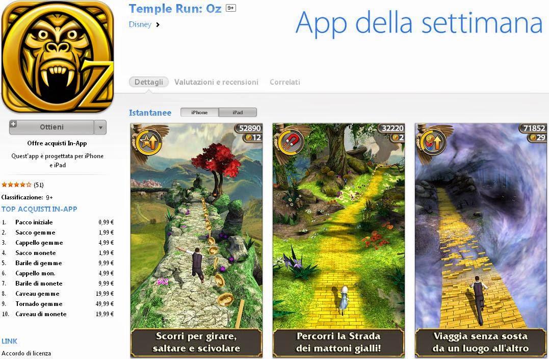 Temple Run OZ gratis come App della settimana
