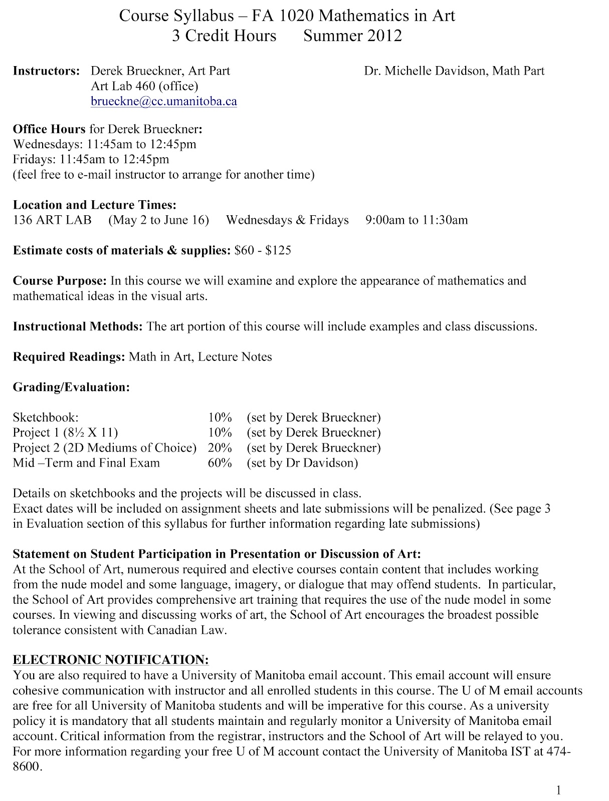 Mathematics In Art Course Syllabus And Outline For Math In Art