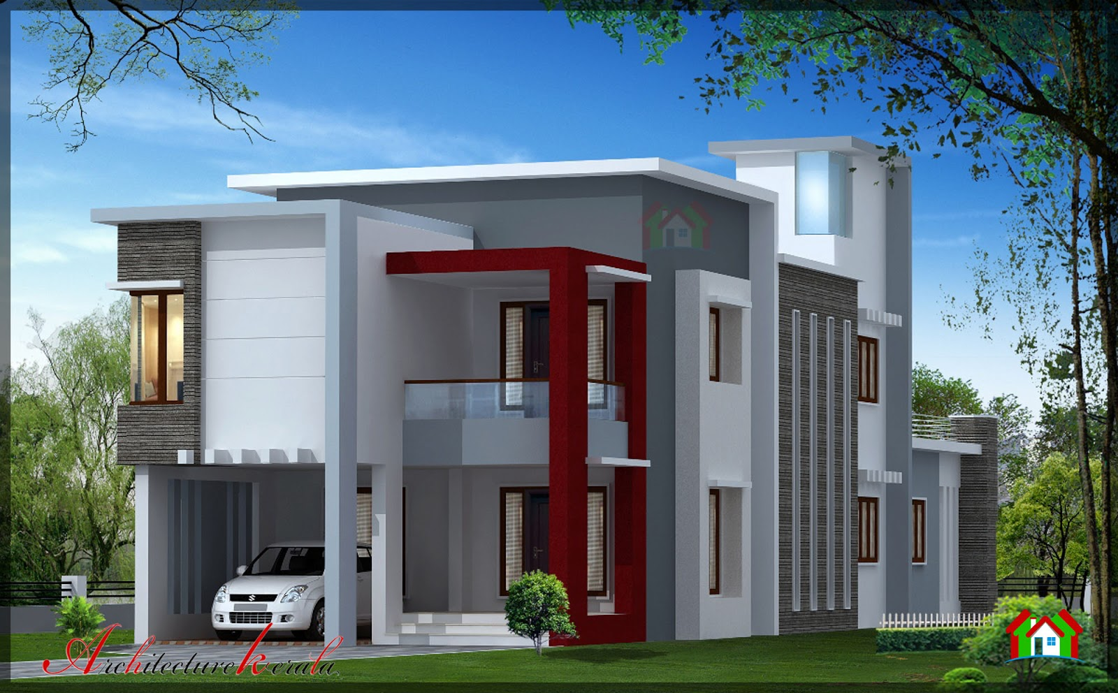 1700 square feet contemporary house design architecture for Home designs kerala architects