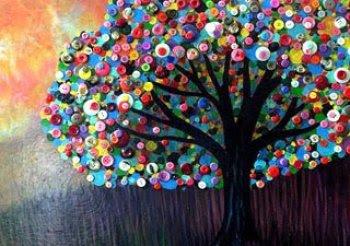 Reciclatex Árbol de botones para decorar una pared