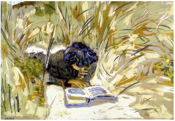 Femme lisant sous les arbres