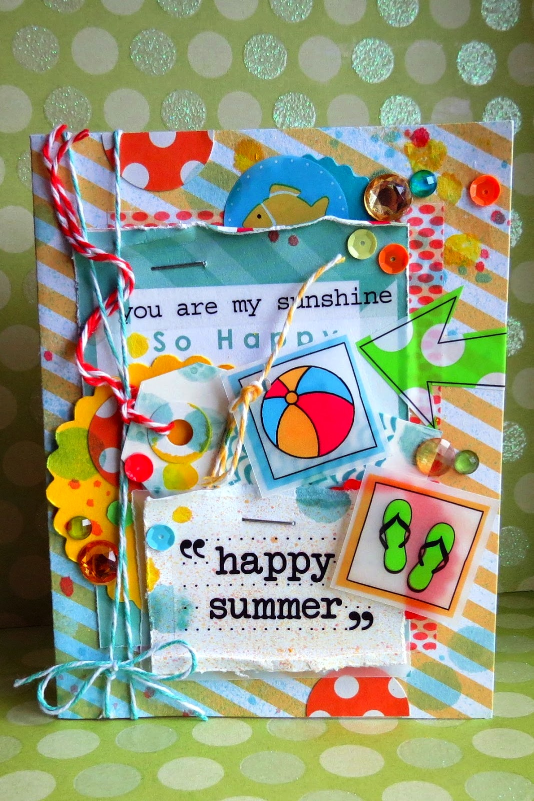 SRM Stickers Blog - Happy Summer {Card} by Shannon - #card #summer #stickers #sentiments #punched pieces #twine