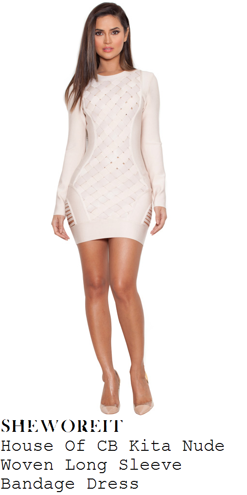 hailey-baldwin-nude-pink-woven-ladder-detail-long-sleeve-bandage-mini-dress