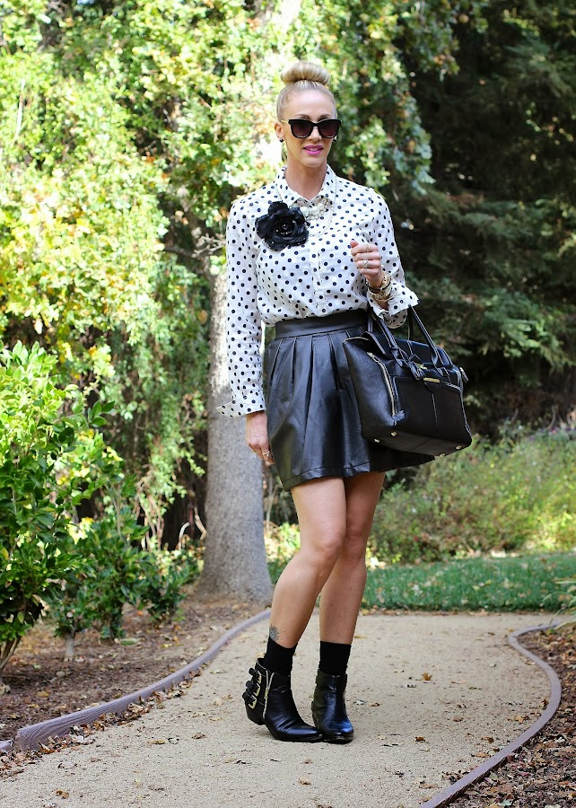 fall leather polka dots and booties
