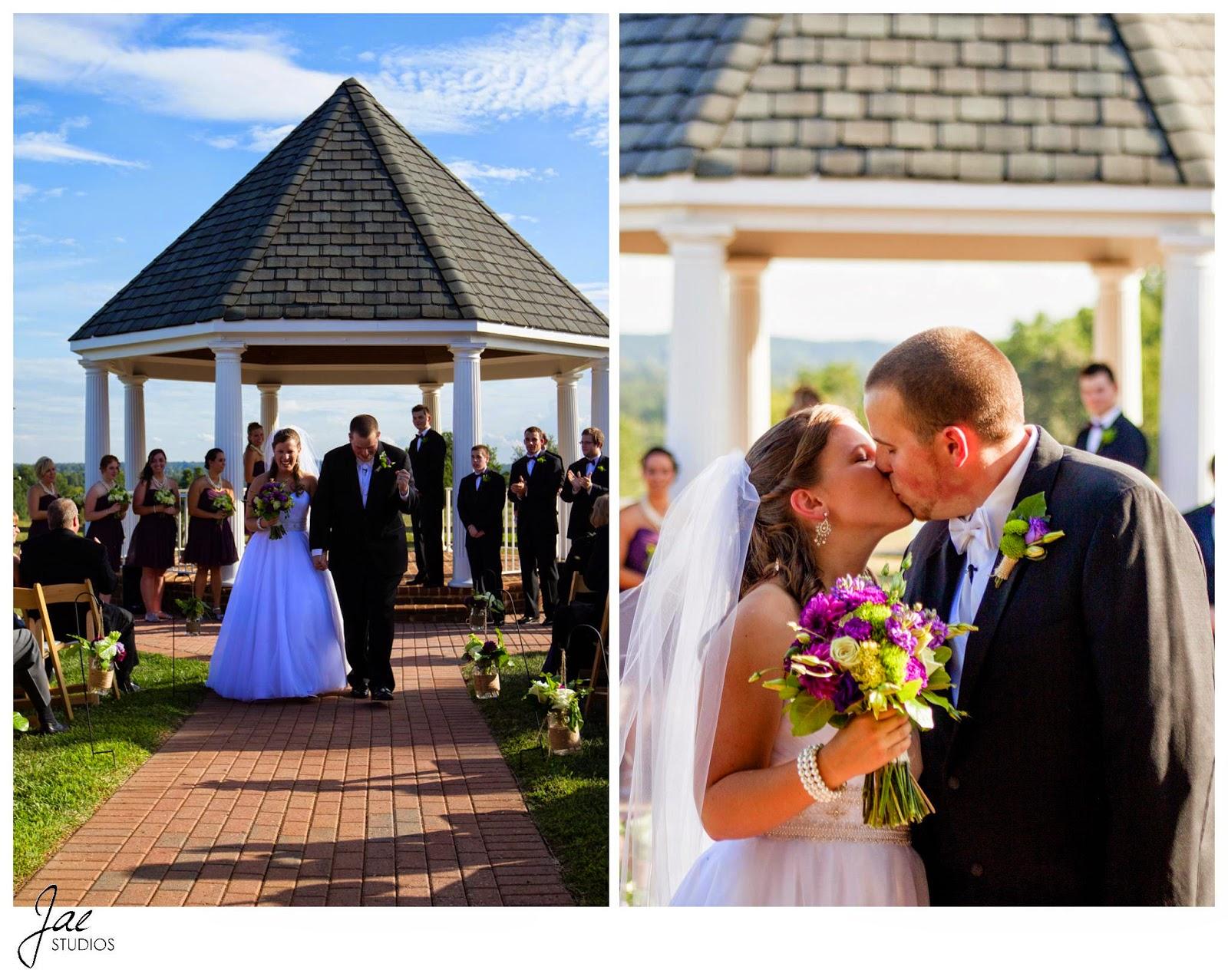 Jonathan and Julie, Bird cage, West Manor Estate, Wedding, Lynchburg, Virginia, Jae Studios, wedding dress, flowers, bouquet, purple, gazebo, aisle, boutonniere, kissing