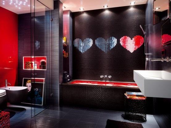 Baños Modernos Rojos:Baño Decorado en Negro y Rojo Moderno y Atrevido