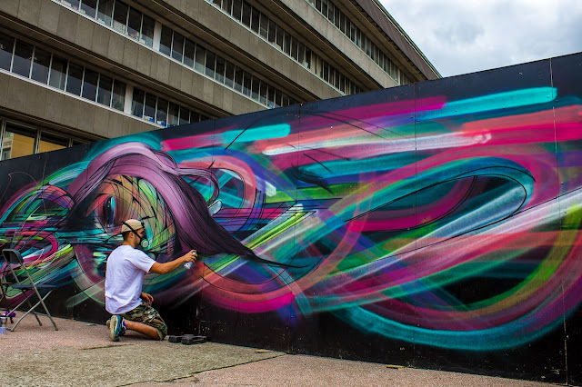 French Street Artist Hopare In Cergy, France For The Cergy Soit Street Art Festival. 5