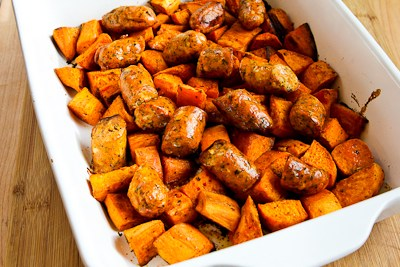 Easy Spicy Roasted Sweet Potatoes and Chicken-Garlic Sausage found on ...
