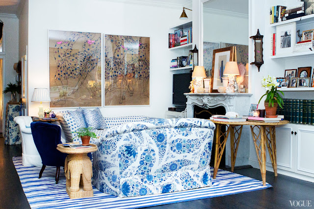 Rebecca de Ravenel's blue and white living room after being redecorated