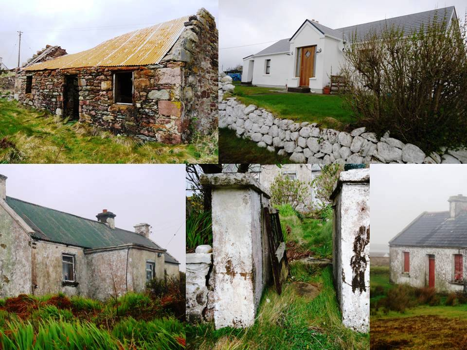 A colage by Patrick Comerford of houses on te island o