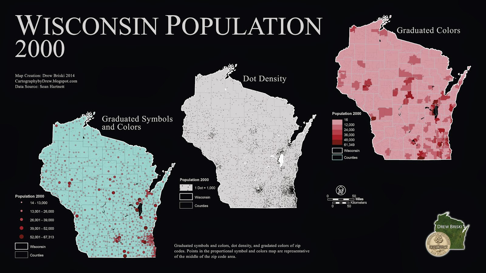 poster displaying population for the state of wisconsin from 2000 the maps display population in three different ways each with their own interpretation