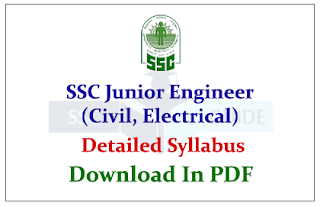 SSC Junior Engineer (Civil, Electrical) Exam 2015 Detailed Syllabus Download