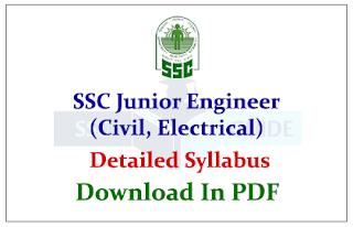 SSC Junior Engineer (Civil, Electrical) Exam 2015 Detailed Syllabus Download