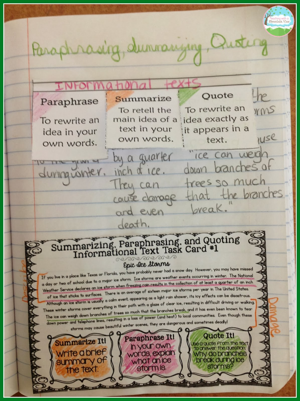 teaching a mountain view summarizing paraphrasing and monday 17 2014