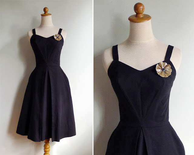 vintage black cotton dress xs