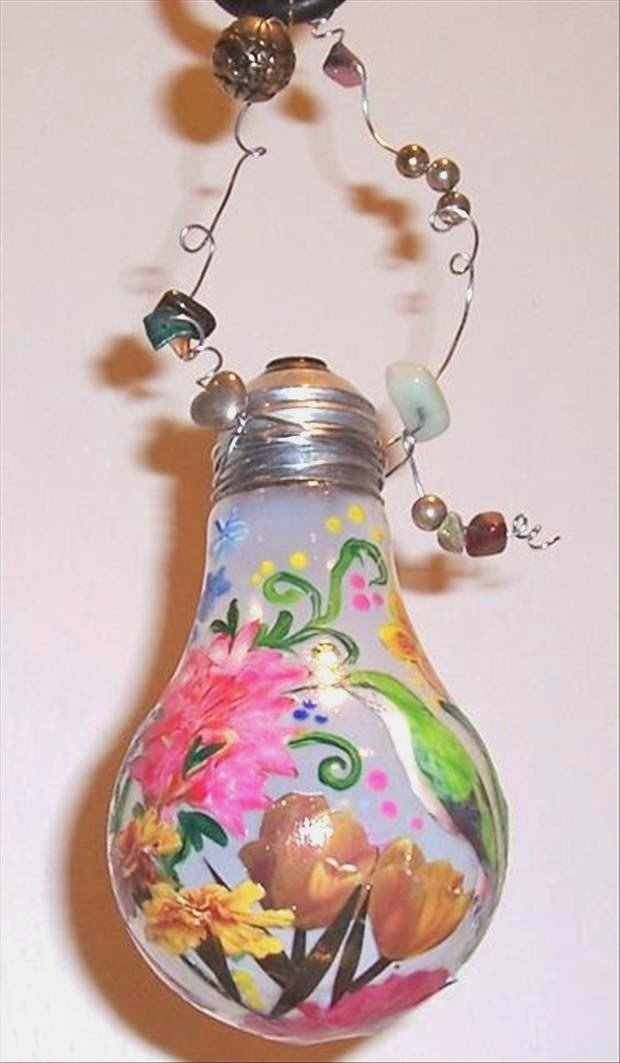 Painted light bulb art design art craft gift ideas for Clear christmas bulbs for crafting