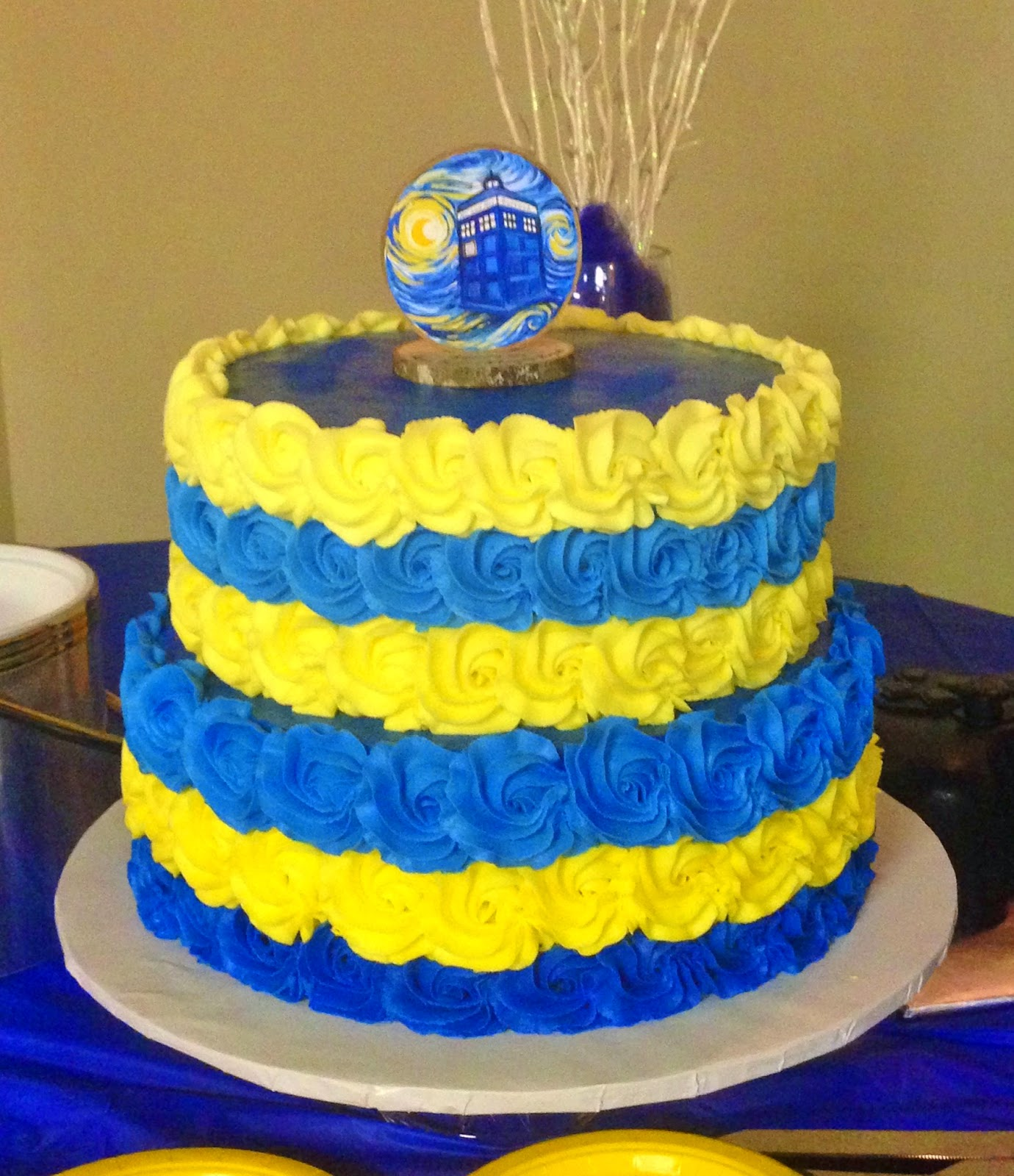"Cakes by Mindy Blue and Yellow Rosette Wedding Cake 10"" & 12"""