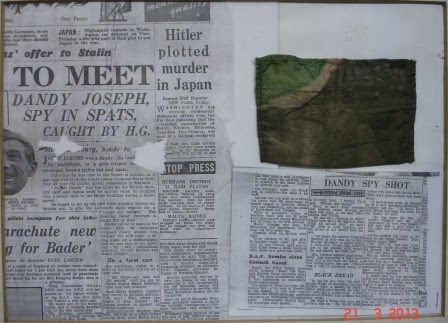 Ramsey Rural Museum - display case with newspaper articles on the capture & execution of German spy Josef Jakobs, including a fragment of his camouflaged parachute.  (Photo courtesy of Martin Lovell, Ramsey Rural Museum)