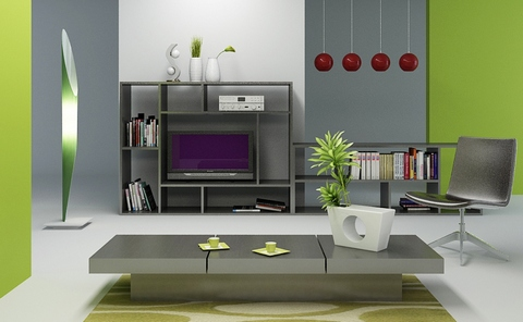 [A modern style room in green and gray palette]