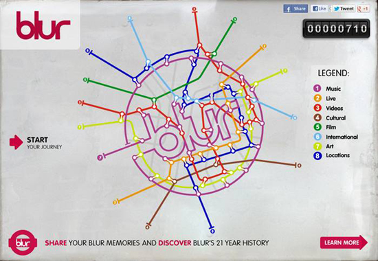 blurtimeline, blur time line, blur tube map, blur discography