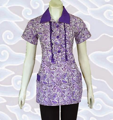 model baju blus batik wanita terbaru 2015