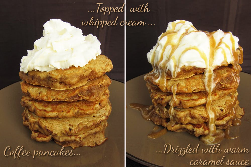 caramel latte pancakes before and after adding sauce
