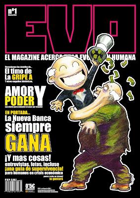 portada para el primer numero de la revista EVO magazine. Diseño de maquetacion