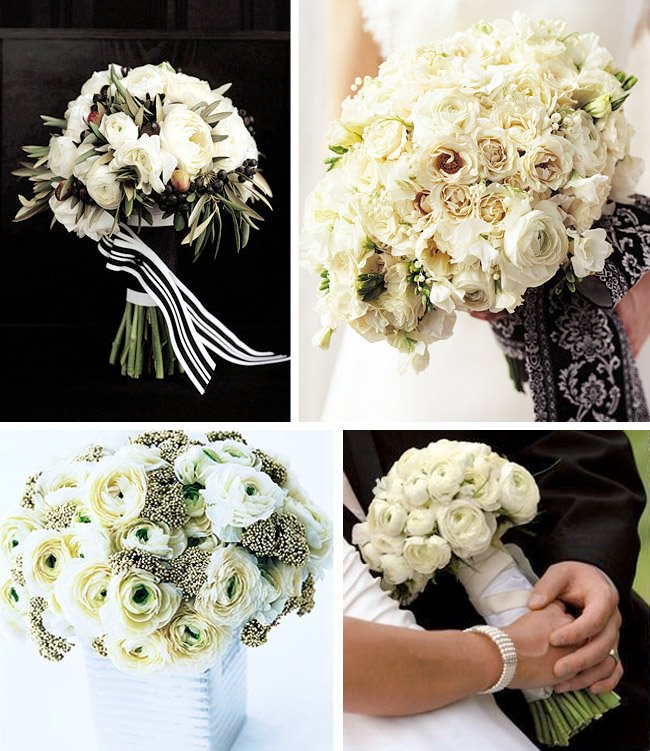 Bridal Bouquet Ranunculus with a mix of roses hydrangeas and calla lilies