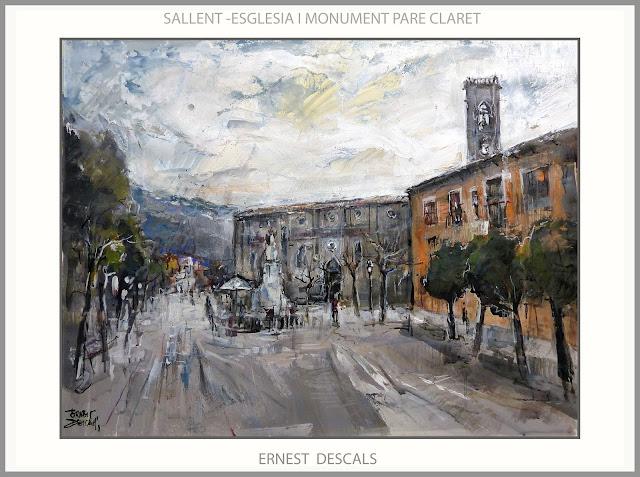 SALLENT-PINTURA-ESGLESIA-PAISATGES-MONUMENT-PARE CLARET-PINTURES-CATALUNYA-PINTOR-ERNEST DESCALS-