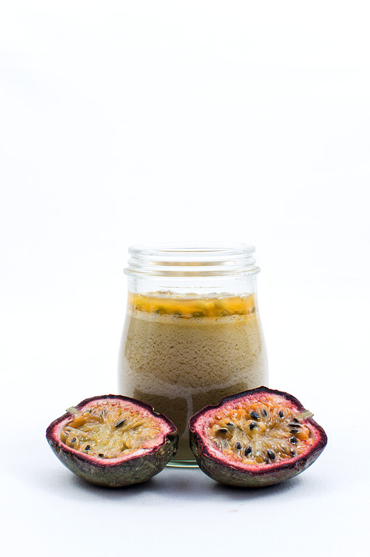 Cocos panna cotta with passion fruit front fruit