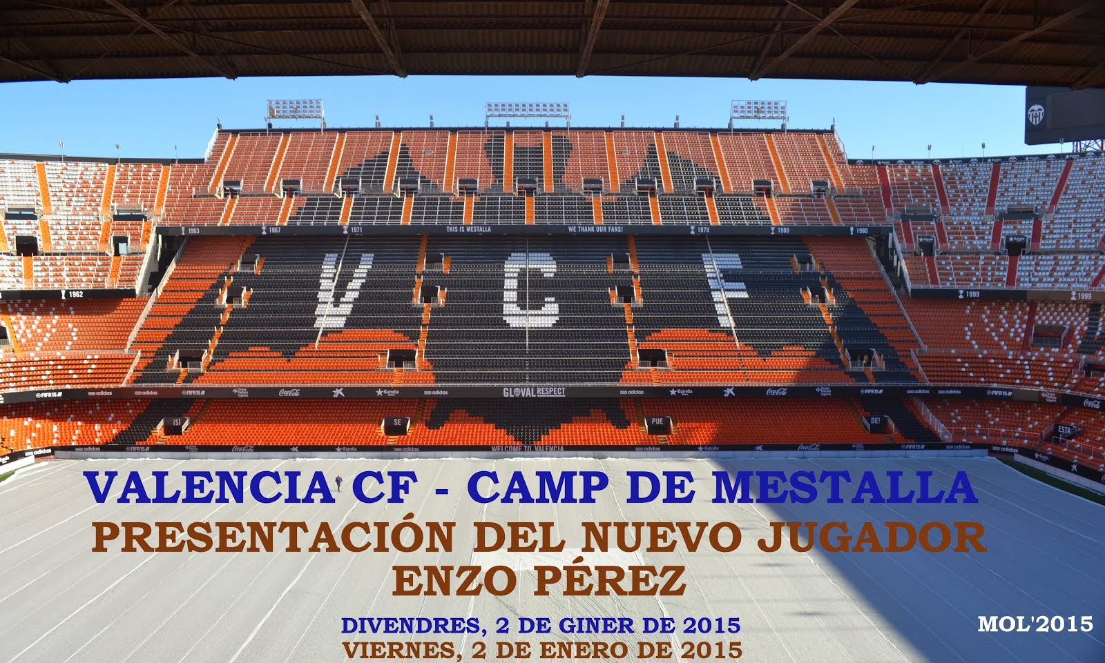 VALENCIA CF-CAMP DE MESTALLA, PRESENTACIÓN DEL NUEVO JUGADOR ENZO PÉREZ.