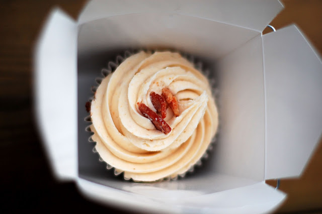 Bacon cupcake from Yummystuff bakery in Parkdale, Toronto.
