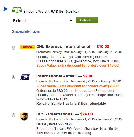 International Airmail on edelleen edullisin, mutta nyt rahdin hinnoittelu on painon mukaan