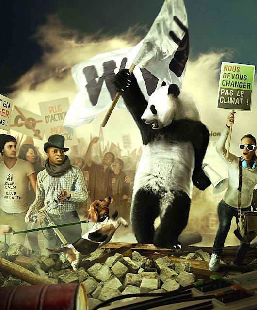 Cartaz do World Wildlife Fund se inspira em sanguinários episódios revolucionários franceses para a Revolução verde de hoje. Mudaram a cor e os personagens, mas a essência destrutiva é a mesma.