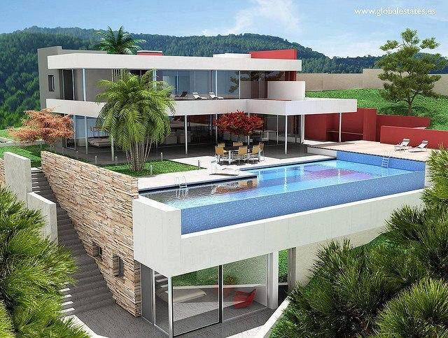 Casa con vista a una piscina dise o de casas home house for Costo de una alberca en casa