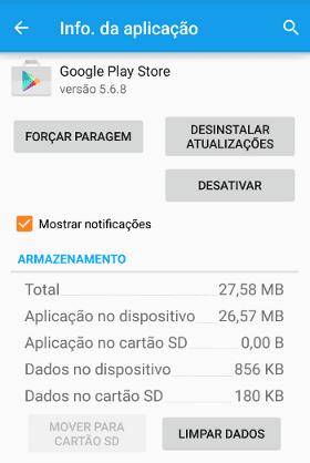 limpar cache e dados do Google Play Store