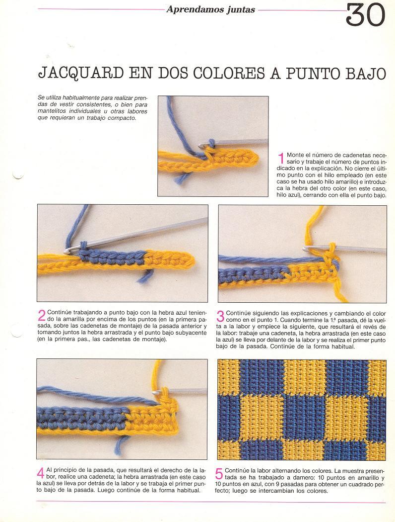 Paso a paso como hacer jacquard en el tejido crochet - Como empezar a hacer punto paso a paso ...