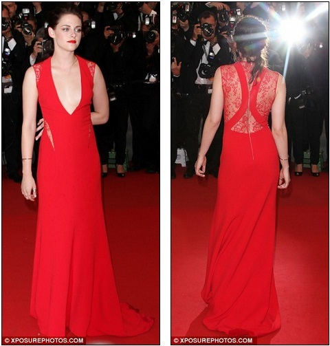 Hello Celebrity: Kristen Stewart almost falls out of her plunging red