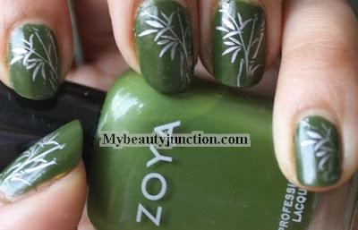 Bamboo nail art with Zoya Shawn polish swatch and China Glaze Devotion stamping