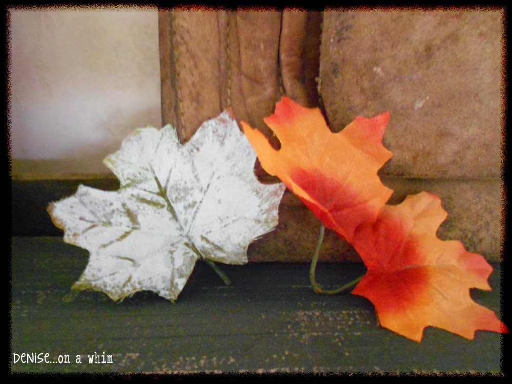 Dollar Store Leaves with Chalk Paint in a Fall Vignette from Denise on a Whim
