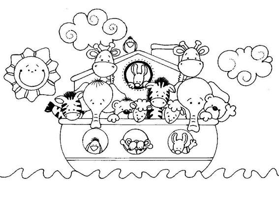 Colorear Arca de Noé para niños ~ Dibujos Cristianos Para ...