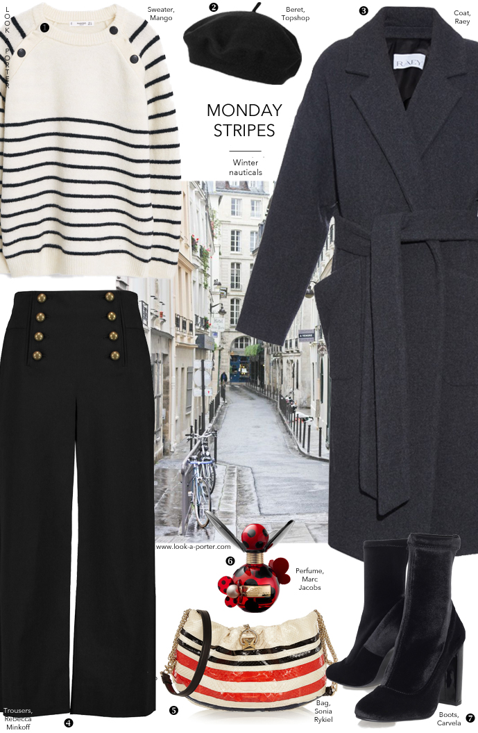 Via www.look-a-porter.com Styling stripes, sailor trousers, Sonia Rykiel, Marc Jacobs & Raey for a daywear outfit inspiration.