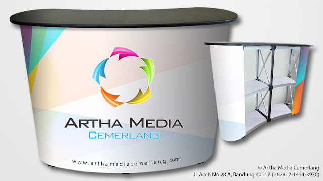 Pop Up Counter Artha Media Cemerlang, Pop Up Counter Display, Meja Display Portable, Harga Meja Promosi