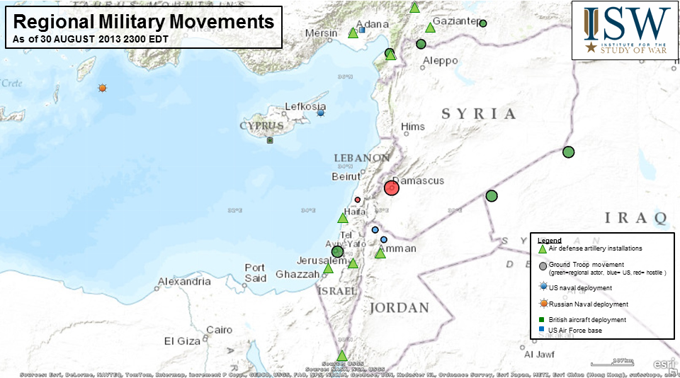Military Movements In The Middle East Aning U S Strike On Syria As Of 30 Aug 2013 2200 Edt