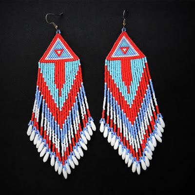 large beaded earrings beadwork beading jewelry seed bead earrings